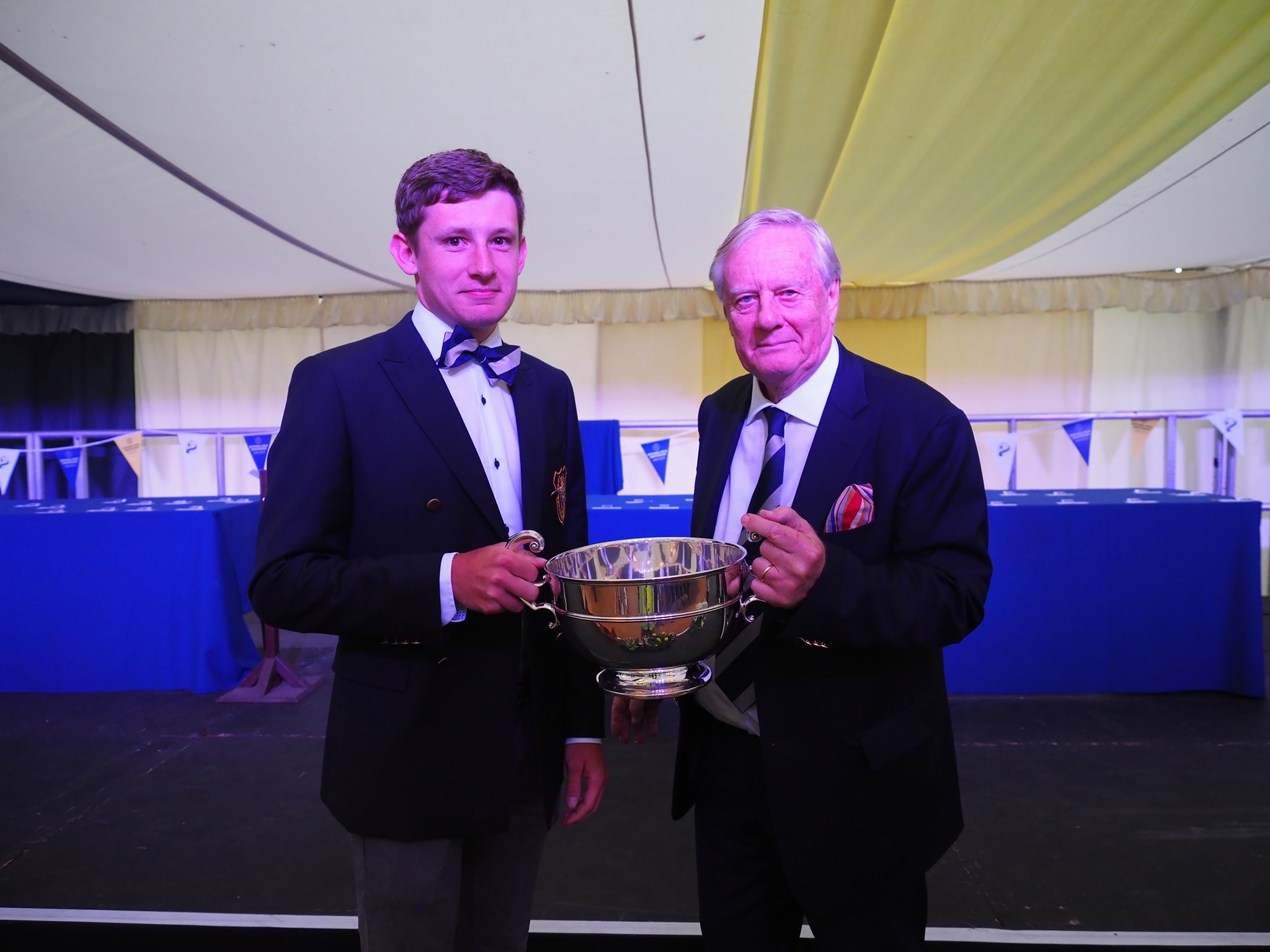 Russell Woodger receiving the Olle Beckett Memorial prize for best under-23 in the Grand.